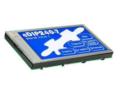 Displays gráficos LCD inteligentes con bus SPI-I²C-RS232